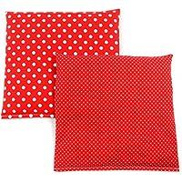 Preisvergleich für Set Kirschkernkissen Wärmekissen Körnerkissen ca.25 x 25 cm rote kleine Punkte und rote Punkte