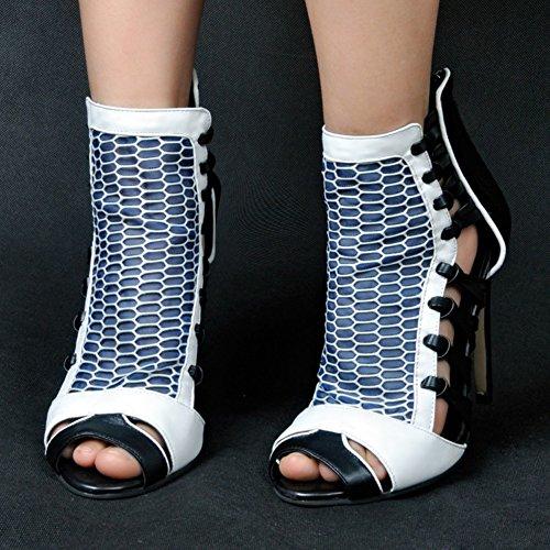Kolnoo Damen Faschion 11cm Absatz Sandelholze Patchwork Abend Schuhe Dragqueen für Hochzeitsfest Kleid Black