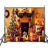 Werse 5x7ft Vinyl Warm Light Weihnachtsbaum Kamin Stocking Fotografie Hintergrund Backdrops Studio