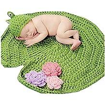 katuo nouveau-né Grenouille Vert fait main Crochet Bonnet Bébé Unisexe Costume Accessoires photo