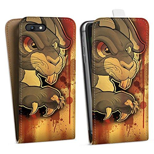 Apple iPhone X Silikon Hülle Case Schutzhülle Tattoo Böses Kaninchen Downflip Tasche weiß