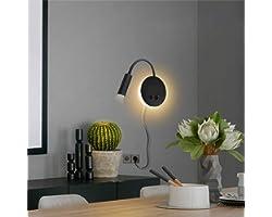 Budbuddy 3W+8W Lampe De Lecture Noir Applique Liseuse Avec Interrupteur Lampe De Chevet Pour Lire Moderne Applique De Chevet