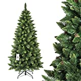 FAIRYTREES artificiale Albero di Natale SLIM, Pino verde naturale, materiale PVC, vere pigne, incl. supporto in metallo, 180cm, FT08-180