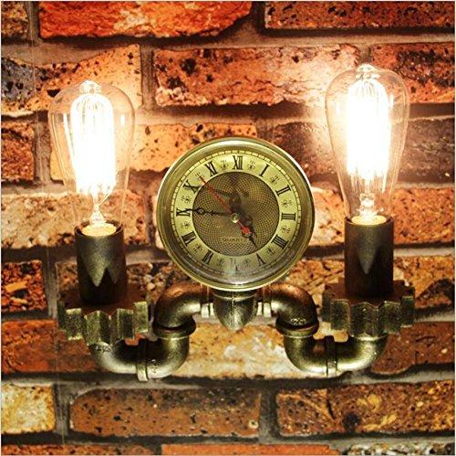 Twin Loft-schlafzimmer (XIAOJIA Amerikanischen Loft Retro-industrielle Wind Quarz Uhren kreative Eisen Rohr Wand Lampe Cafe Bar Restaurant Flur Schlafzimmer Wohnzimmer dekorativen Leuchten Beleuchtung Leuchte)