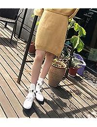4cm Chunkly Heel Retro Martin Botas Locomotora Botas Vestido Zapatos Mujer Redonda Punta Hueco Correa De Tobillo...