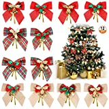 Kulannder Kerst Strik Ornamenten 12 Stks Kerstboom Strikken, Xmas Boom Bogen Decoratie, Kerst Lint Bogen Ornamenten voor Kerstboom Decor (12 Stijlen)