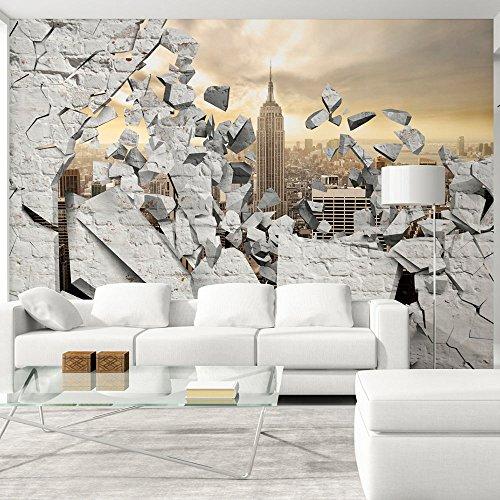 murando – Papier peint intissé 300x210 cm – Trompe l oeil – Tableaux muraux déco XXL – Ville City New York d-A-0045-a-b