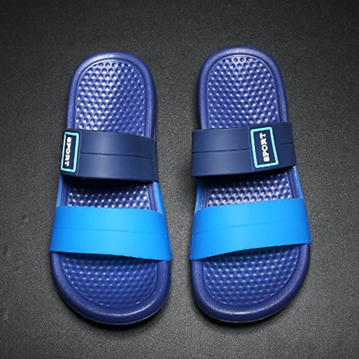 fankou Slippers Male Summer English Cool Drag and Wild Fashion Casual Non-Slip Men's Sandals,41, Blue