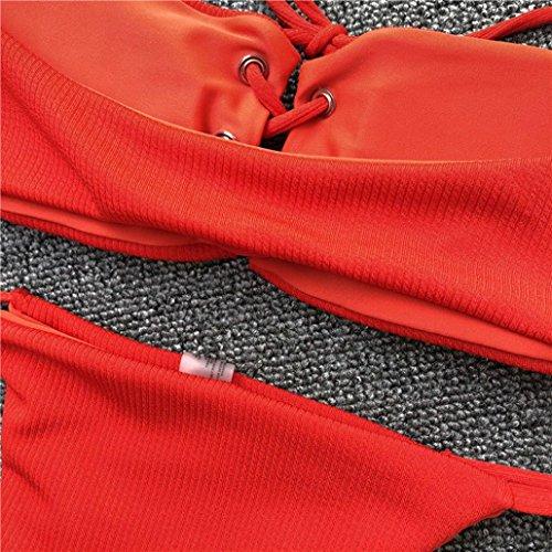 Tpulling Maillot de Bain Femme 2 Pieces ❤️ Femmes au Large de Bande D'Épaule Push-Up Rembourrés Bra Beach Bikini Set Maillot de Bain ❤️ 1 centime Produit red