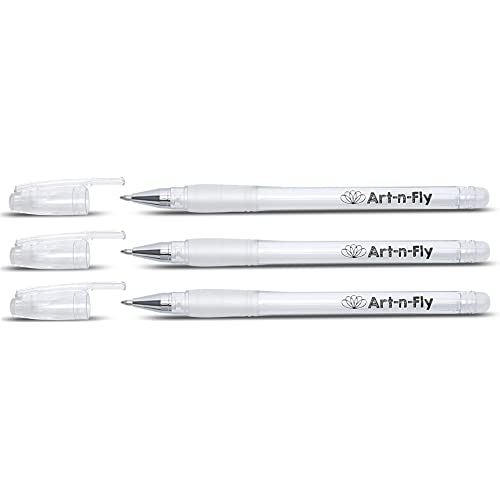 Penne Gel Bianche Punta Fine per Artisti con Inchiostro Archival Penna da Disegno Fine Penne Roller per Illustrazione (3, Bianco)