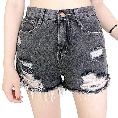 Dorekim Damen Low Taille Fringe Denim Shorts Jeans mit Taschen (M, 6666 # (Schwarz)) (Denim-shorts Schwarze)