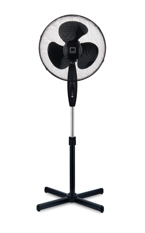 Knight 16″ Fan Pedestal Stand High Performance 140cm Adjustable Height, 3 Speed Setting, Extra Wide Cross Base, Oscillating, Tilting Head (Black)