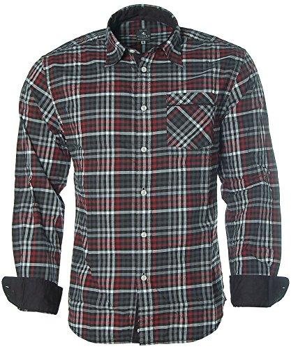 Kitaro Herren Langarm Shirt Hemd Freizeithemd Kent-Kragen Karo Black