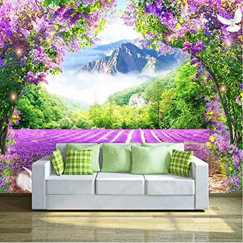 Benutzerdefinierte Fototapete Frische Lavendel Blume Vine Arch 3D Tapete Moderne Wohnzimmer Schlafzimmer Sofa Dekoration Papel De Parede Möbeldekoration (W)200x(H)140cm (Mickey Arch)