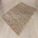 """Shaggy Rug Beige 963 Plain 5cm Thick Soft Pile 60cm x 110cm (2ft x 3ft 7"""") Modern 100% Berclon Twist Fibre Non-Shed Polyproylene Heat Set - AVAILABLE IN 6 SIZES by Quality Linen and Towels"""