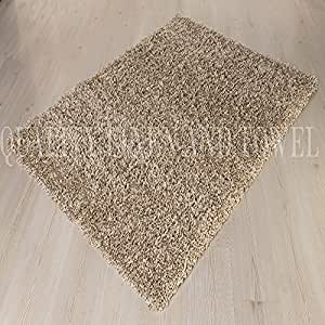 """Shaggy Rug Beige 963 Plain 5cm Thick Soft Pile 160cm x 230cm (5ft 3"""" x 7ft 7"""") Modern 100% Berclon Twist Fibre Non-Shed Polyproylene Heat Set - AVAILABLE IN 6 SIZES by Quality Linen and Towels"""