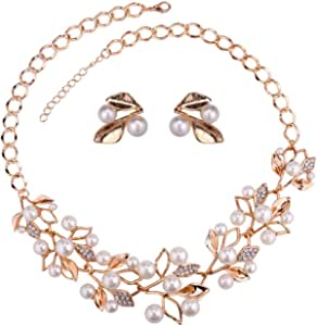 YouBella Jewellery Sets for Women Gold Plated Pearl Studded Necklace Jewellery Set with Earrings for Girls/Women