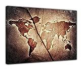 Kunstdruck - Weltkarte - Bild auf Leinwand - 80x60 cm 1 teilig - Leinwandbilder - Urban & Graphic - Erde - Kontinente - Geographie auf Einem Blatt