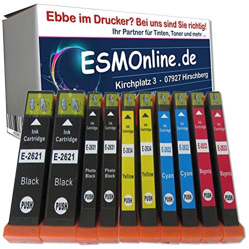 ESMOnline Multipack 10 komp. XL Druckerpatronen für Epson Expression Premium xp 510 520 600 605 610 615 620 625 700 710 720 800 810 820 2 x Schwarz 2 x Photoschwarz 2 x Blau 2 x Rot 2 x Gelb