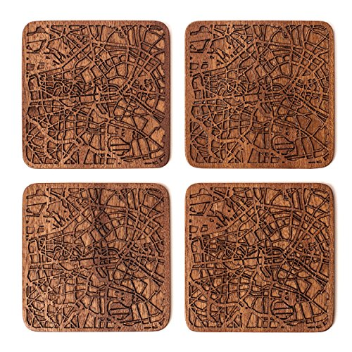 Berlin Map Coaster, Set Of 4, Sapele Wooden Coaster With City Map, Handmade