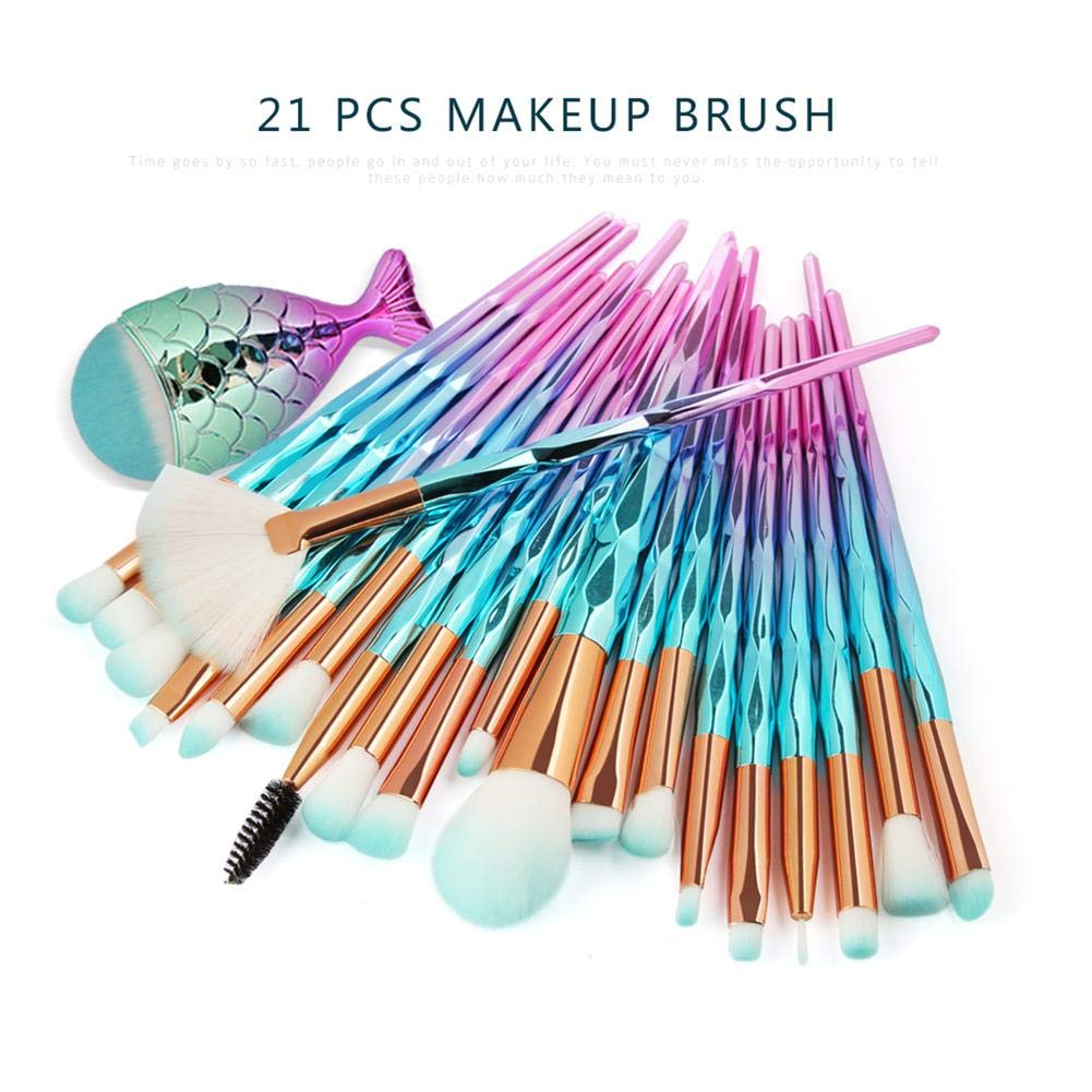 Make Up Brush Set Sirena Pincel de maquillaje Pincel cosmético Pincel de sombra de ojos Fan-shaped Makeup Pinse 21 piezas Pinse Set