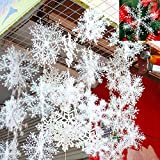 50 Stück Weihnachten Deko Schneeflocken Weihnachtsbaumdeko Weihnachtsbaumschmuck Anhänger