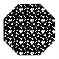 DongMen Custom Portable Windproof Outdoor Folding Travel Umbrella Diy Personalized Dog Paws and Bones Pattern Design