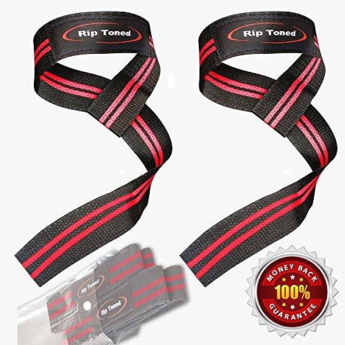 Cinghie di sollevamento rip toned (paio) – cotone – imbottitura in neoprene – fasce da polso per sollevamento pesi, bodybuilding, x-fit, strength training, powerlifting, arti marziali miste, rosso