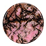 Morella Damen Coin 33 mm Edelstein Rhodonit Chakren Scheibe Halsketten-Anhänger und zur Stärkung