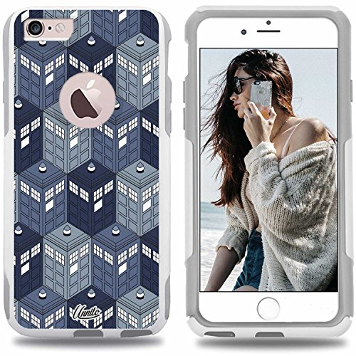 unnito iPhone 6 Plus Hybrid Fall, [Dual Layer] 1 Jahr Garantie Schutz Hülle [Custom] Commuter Schutz Cover (Weiß), Dr Who Phone Booth (6 Dr Fall Iphone Who)