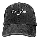 Vintage Guess Whats New Pattern Jeans Cap Adjustable A Unisex Baseball Caps Black