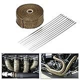Floratek Titanium scarico Wrap roll kit di scarico del nastro intestazione Wrap 5,1cm x 10,1m in fibra di vetro, fasce per Automotive moto con 10fascette di bloccaggio in acciaio