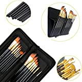 Kurtzy Nylon Soft Bristles Paint Brushes for Acrylics, Watercolour and Oil Painting with Classy Zip Case (Gold and Black)