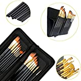 #5: Kurtzy Gold Nylon Soft Bristles Paint Brushes ideal for Acrylics Watercolor and Oil Painting supplies with Premium Classy Zip Case