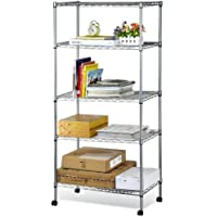 Callas 5-Tier Height Adjustable Shelving Unit Storage Rack with Wheels and Leveling Feet, Chrome