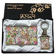 Mère de perle fleur & papillon Design porte-clés Support Business crédit Nom Porte Carte d'identité Slim Argent cas de