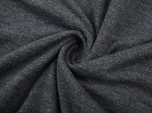 KorMei Damen Langarmshirt Rundkragen Asymmetrisch Faux Twinset T-Shirt Bluse Dunkelgrau