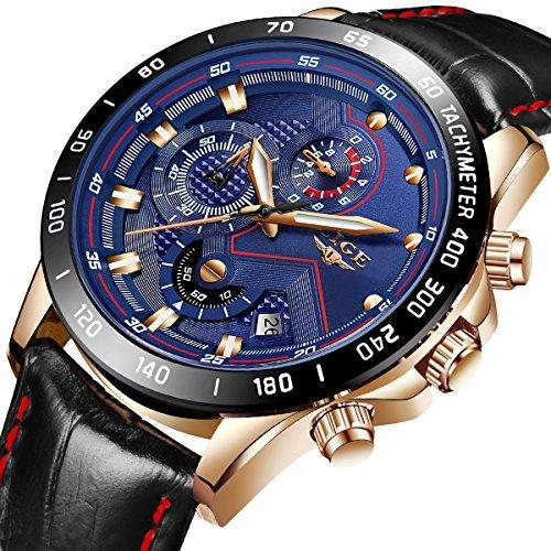 Hommes Montres Quartz Analogique Montre Hommes Étanche Sport Chronographe De Luxe Marque LIGE Homme Élégant Mode Cuir Montre Bracelet Bleu