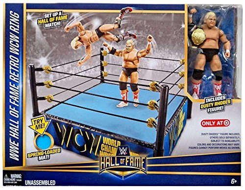 WWE Wrestling WWE Hall of Fame Retro WCW Ring Exclusive Playset [Includes Dusty Rhodes Figure] (Hall Wwe Of Fame Mattel)