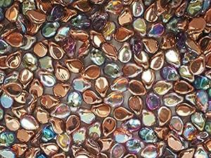 50pcs PIP Perles 7x5mm Pressé Tchèque Verre, Crystal Copper Rainbow