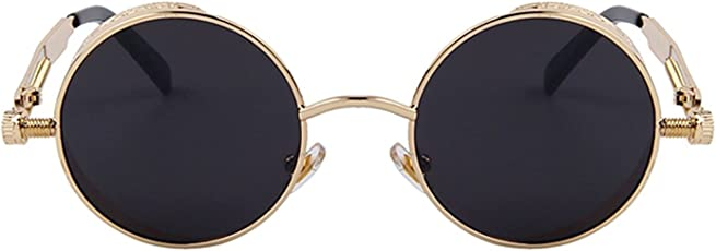 Tony Stark Round Steampunk Sun-Glasses for Men Women Latest Stylish - Designer Brand Polarized-Metal Lenses with Case - UV400 Protection