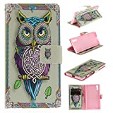 Sony Xperia XZ Case Cover [Anti-Scratch][Waterproof], Cozy Hut Practical Fashionable Creative Retro Patterns PU Folio Leather Wallet Designer Flip Magnetic with [Wrist Strap] and [Card Holder Slot] Shock Absorber Full Body Protection Holster Case Cover Skin Shell for Sony Xperia XZinch - owl