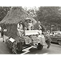 POSTER Photograph people period costume back horse-drawn haystack float Centennial Parade held Deseronto Ontario Thursday 17th June 1971. Taken Main Street near Rathbun Park. Two girls have been identified Debbie McTaggart Rosemary Edwards. Deseronto eastern Ontario Canada Wall Art Print A3 replica