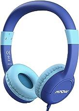 【Verbesserte Version】Mpow Kopfhörer Kinder, Kopfhörer für Kinder mit Lautstärke- und Mikrofonsteuerung, Kinderkopfhörer mit 85dB Lautstärke Begrenzung Gehörschutz und Musik-Sharing, Material in sicherer Lebensmittelqualität, 3,5mm Audiobuchse, Blau