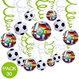 30 Stück Fußball Folie Deckenleuchte Hängedekoration, Spirale Girlanden Home Bar Dekoration für Party Geburtstag Party Decro