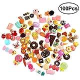 TOYMYTOY 100pcs Küche Lebensmittel Kuchen Kinder Rollenspiele Küchenspielzeug Miniatur Verzierungen DIY Handwerke Zusätz