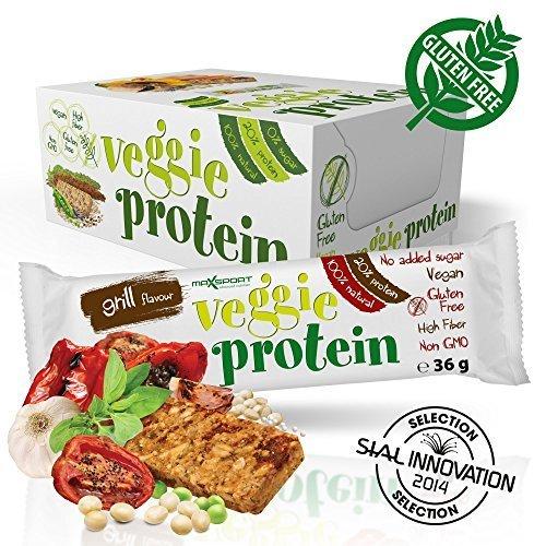 Maxsport Nutrition Glutenfrei Vegan Protein Veggie Proteinriegel - 16 Stück - Grill