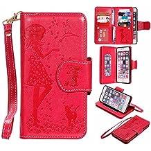 """iPhone 6s Plus Funda Billetera de Piel Espejo Diseño, Estilo Libro Billetera Carcasa con Función Apoyo Tarjeta Poseedor Cierre Magnético para iPhone 6 Plus/6S Plus 5.5"""" Rojo"""