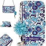 BONROY iPhone 8/7 7G/8G (4,7 Zoll) Hülle, iPhone 8/7 7G/8G (4,7 Zoll) Schutzhülle, Lederhülle PU Leder Tasche Cover Wallet Case für iPhone 8/7 7G/8G (4,7 Zoll)-Blaues und weißes Porzellan