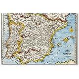 Póster: península ibérica mapa antiguo de España (a2 moviepostersdirect - 40,7 x 61 cm/16 x 24 en, semi-brillante papel satinado, de obras de arte decorativo Decoración para el hogar)